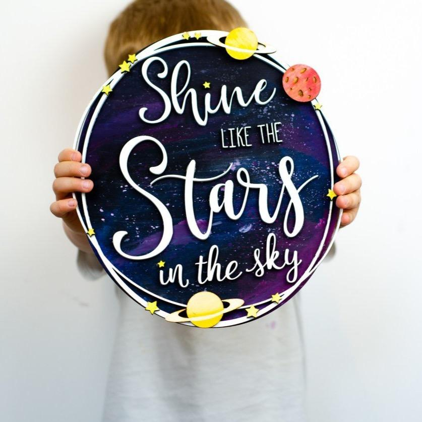 Shine like the stars wooden wall art