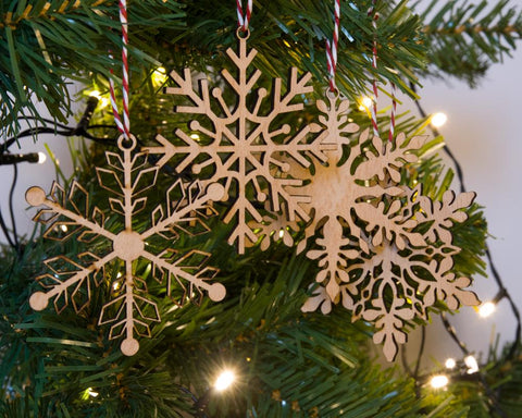 Snowflake set of 4 Christmas ornaments - Birch and Tides