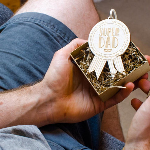 Super dad wooden medal perfect for Fathers Day - Birch and Tides
