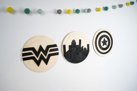 Superhero sign collection wooden sign