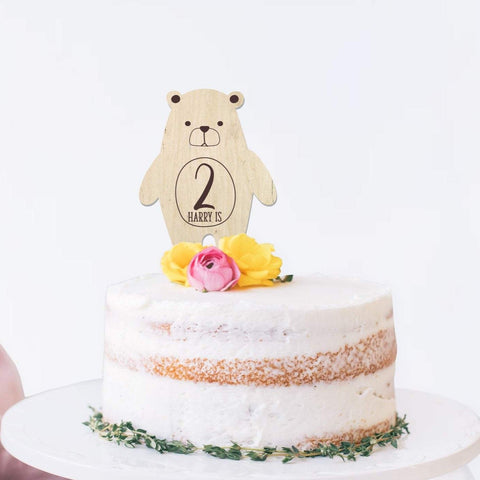 Teddy Bears Picnic wooden cake topper