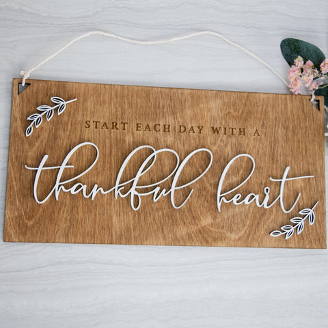 Thankful heart wooden sign - Birch and Tides
