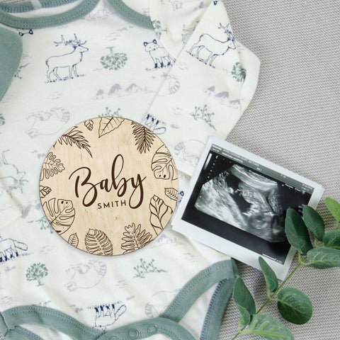 Tropical leaves baby announcement - Birch and Tides