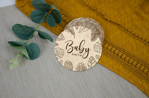 Tropical leaves baby announcement
