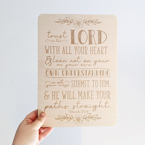Trust in the lord hanging wall plaque - Birch and Tides