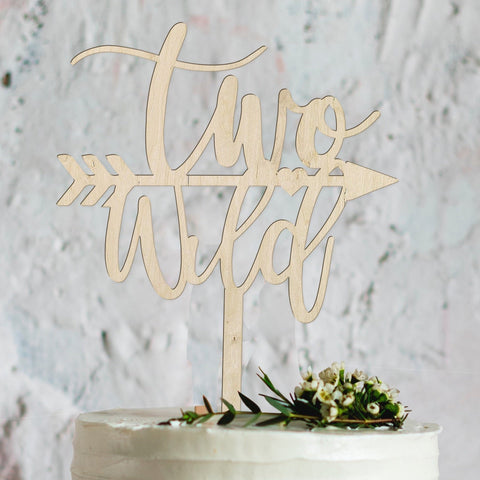 Two wild wooden birthday cake topper - Birch and Tides