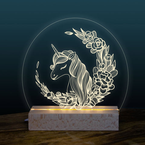 Unicorn night light design - Birch and Tides