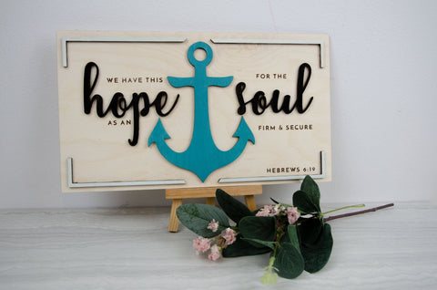 'We Have This Hope' Wooden Anchor Sign - Hebrews 6:19