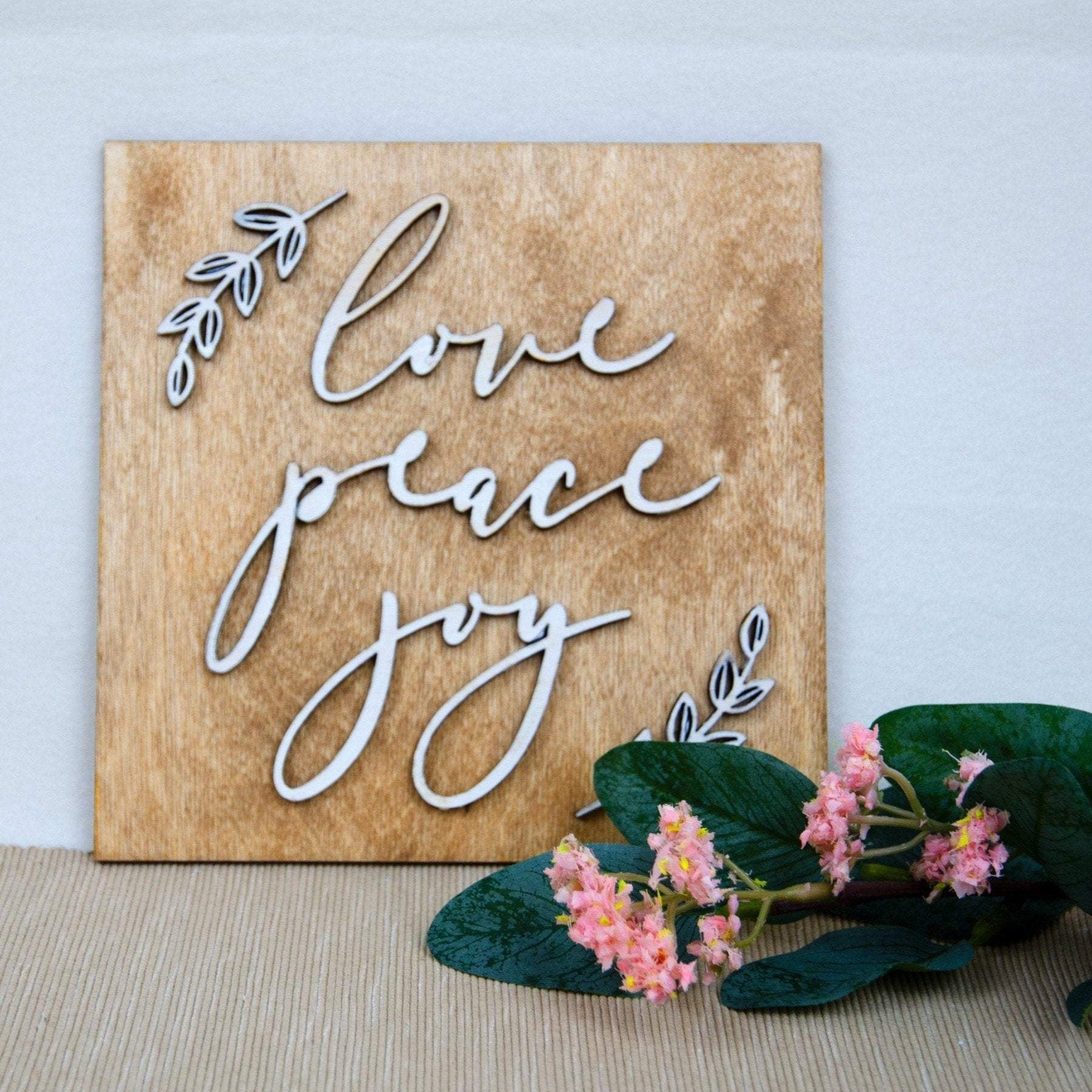 Wedding love joy peace wooden sign