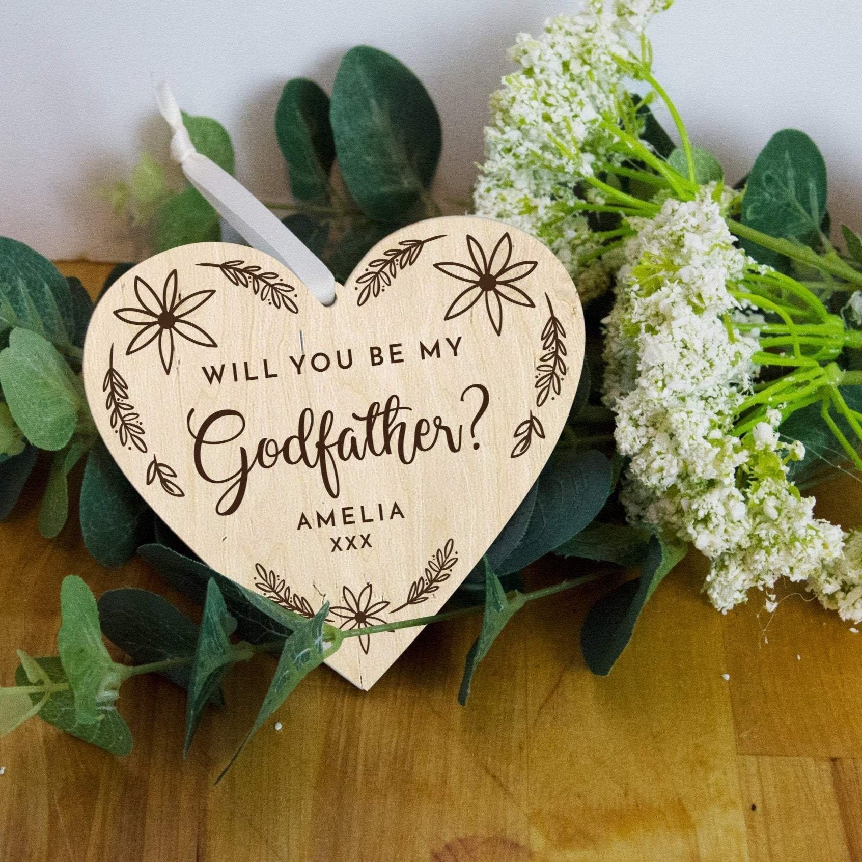 Will you be my Godfather heart keepsake