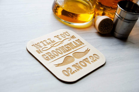 Will you be my groomsmen coaster - Birch and Tides