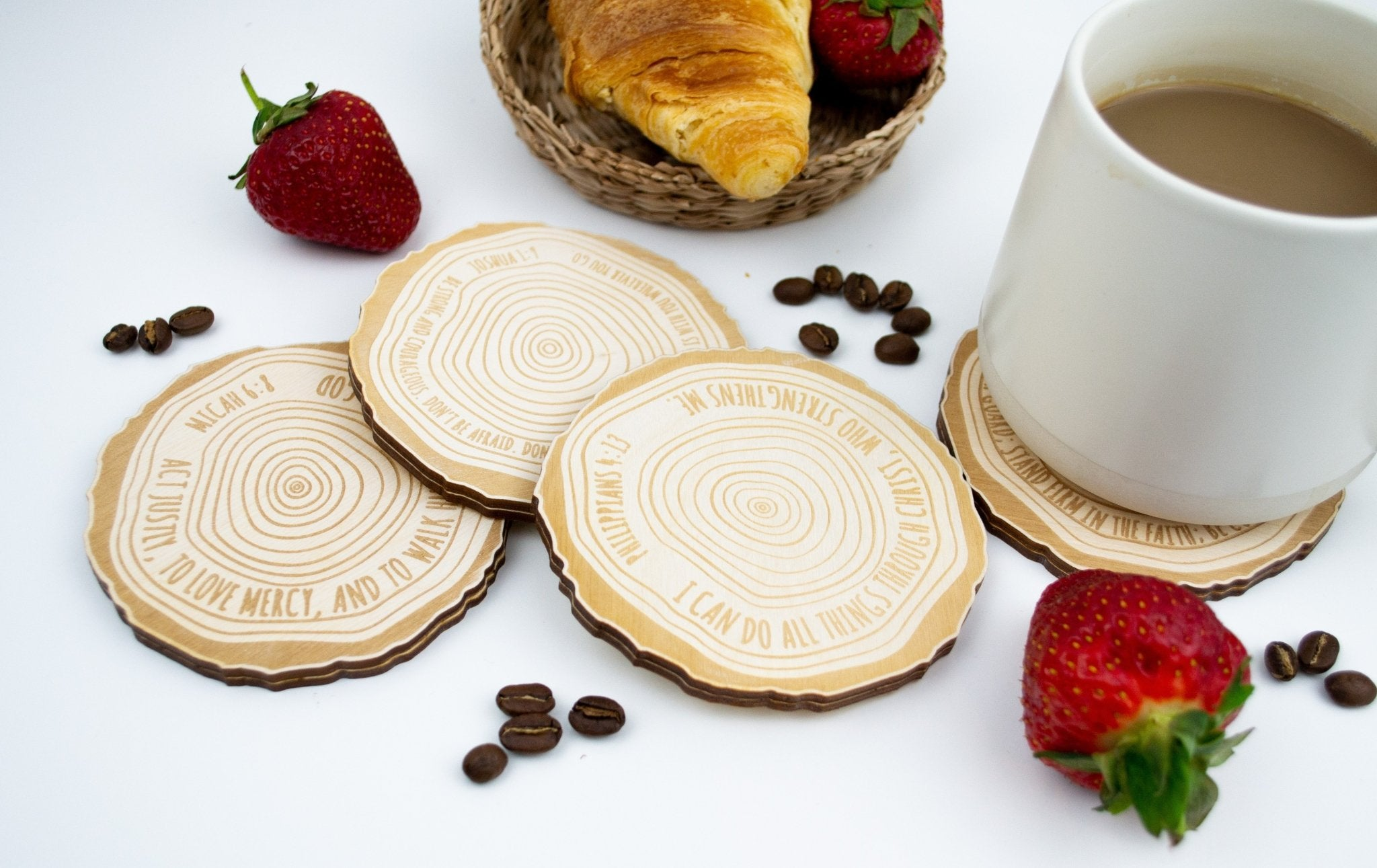 Wood slice bible verse coaster set