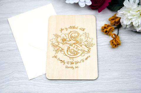 Wooden encouragement greeting card engraved proverbs 31:25