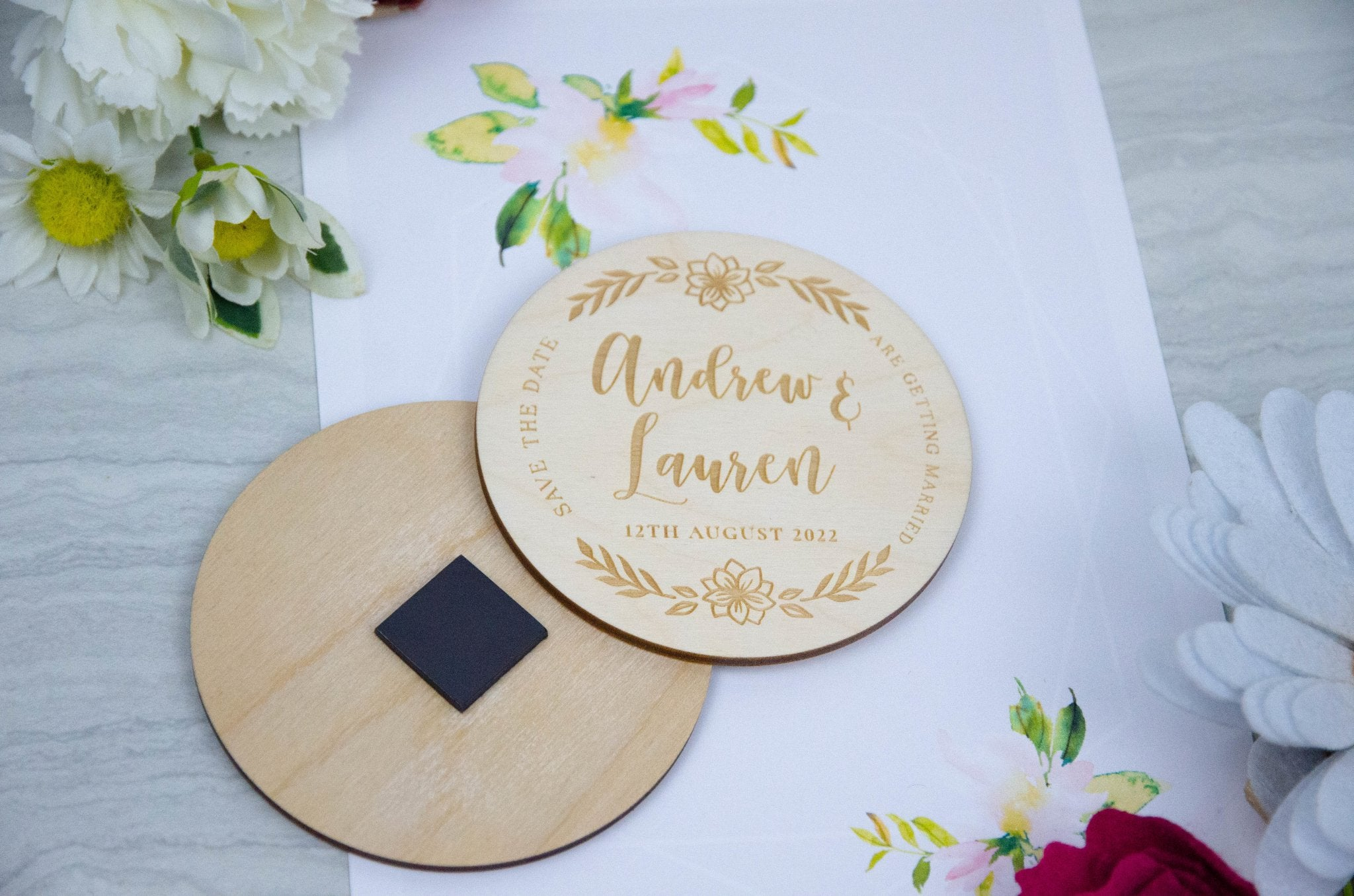 Wooden engraved Save the date wedding magnets