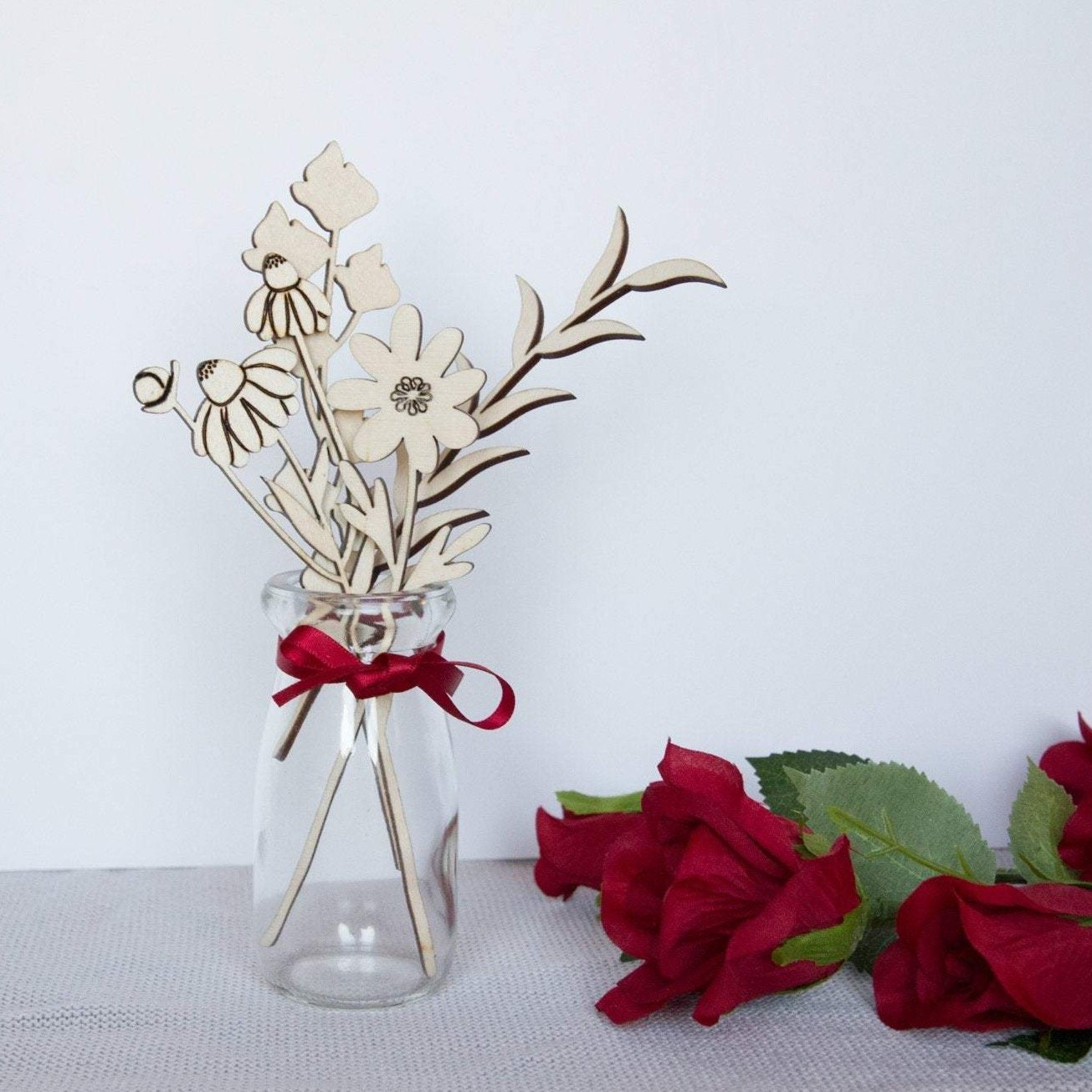 Wooden flower gift set