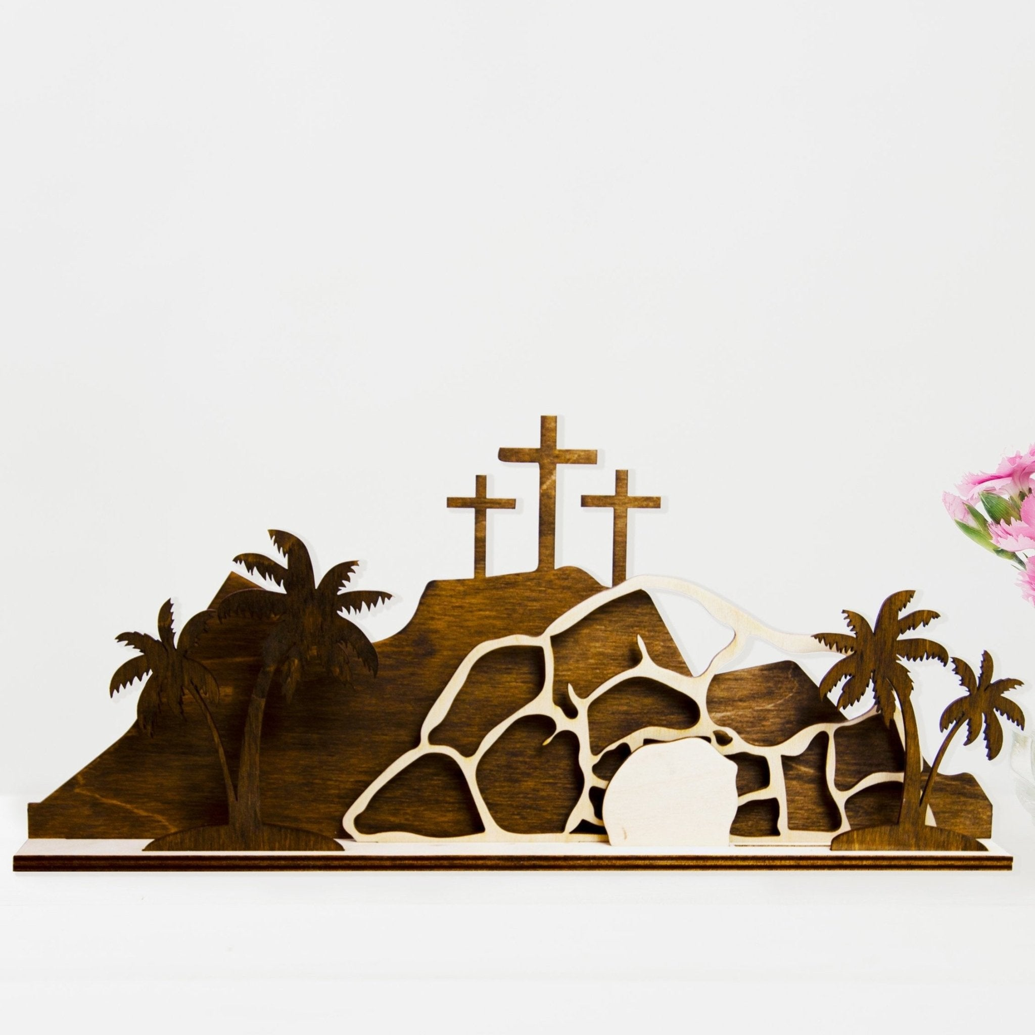 Wooden freestanding Easter scene with moveable stone