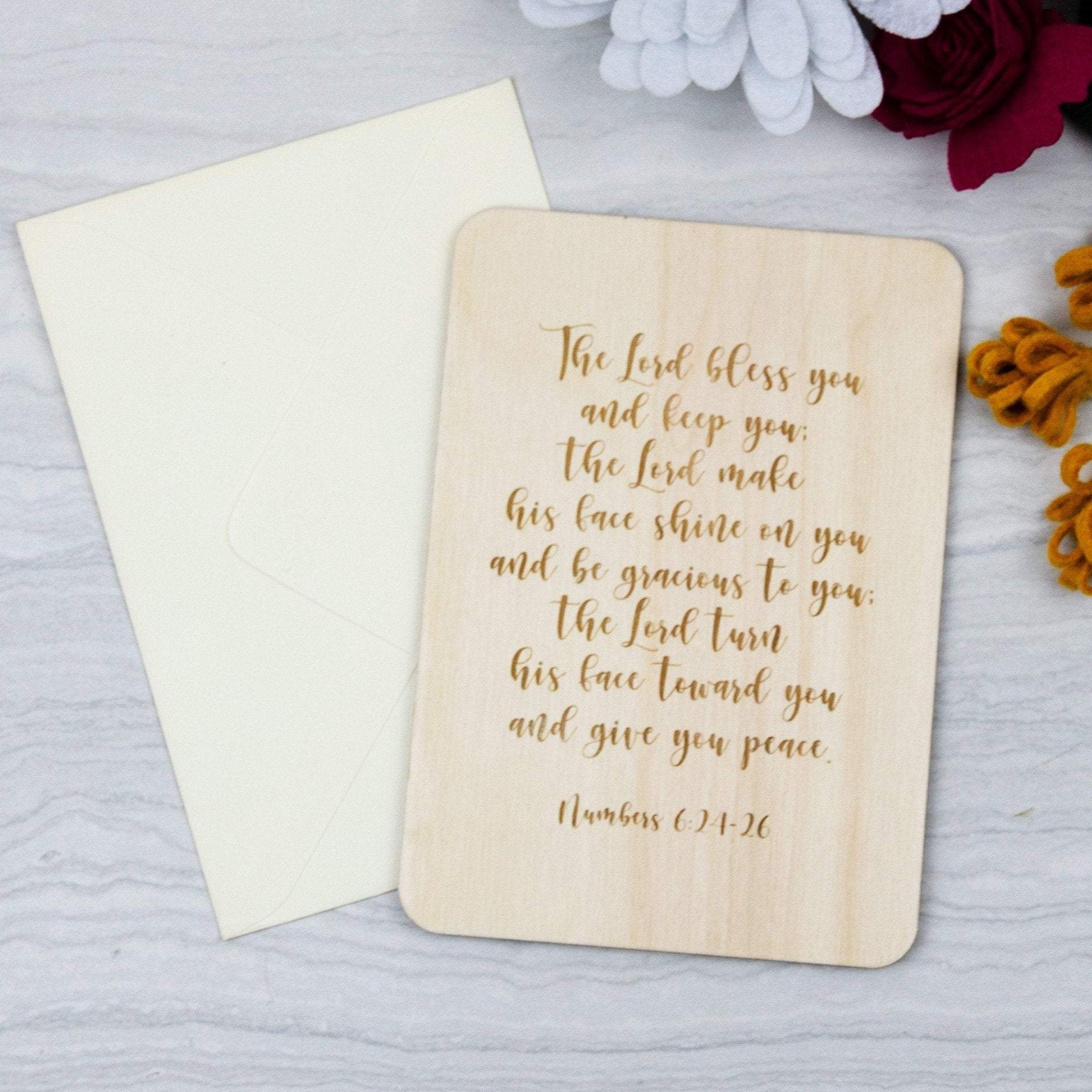 Wooden greeting card Lord bless you and keep you faith card, christening card