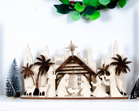 Wooden Nativity Scene - Birch and Tides