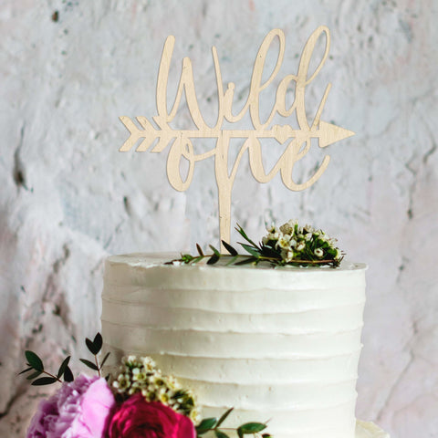 Wooden Wild one birthday cake topper