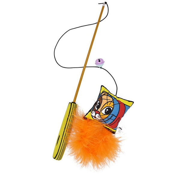Three-section telescopic funny cat stick -