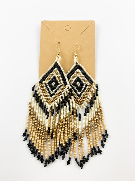 Talk Tribal To Me-  beaded dangle earrings
