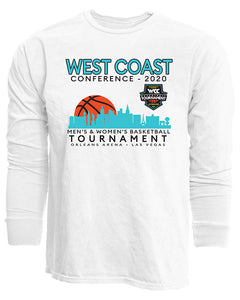 West Coast Conference 2020 West Coast Men's Basketball Tournament White Long Sleeve T-Shirt