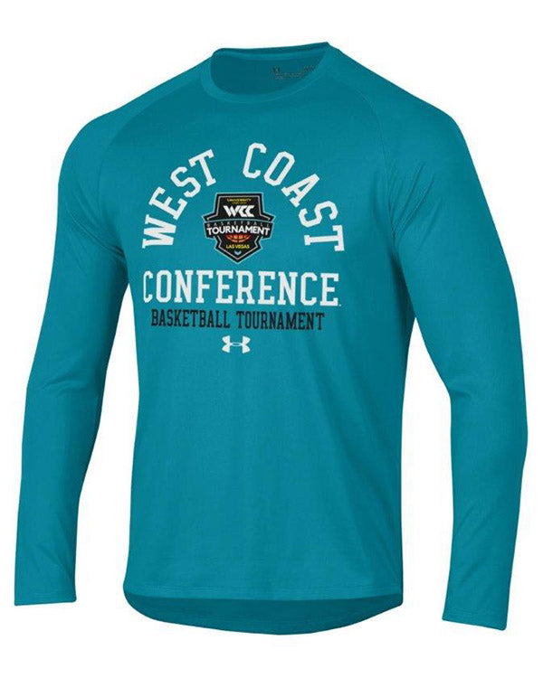 West Coast Conference Under Armour 2020 Men's Basketball Tournament Teal Long Sleeve Tech T-Shirt