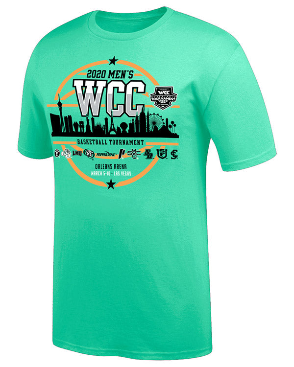West Coast Conference 2020 Men's Basketball Tournament Teal Short Sleeve T-Shirt
