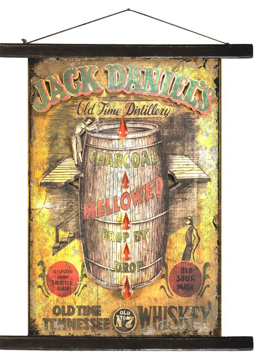 Jack Daniel's Barrel Antique Style Banner - Retro Treasure Leeds