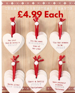 Ceramic Christmas Hearts - Retro Treasure Leeds