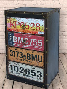 Number Plate 4 Draw Side Cabinet - Retro Treasure Leeds