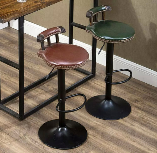 Green Brown Industrial Vintage Rustic Retro Swivel Counter Bar Stool Cafe Chair Backrest - Retro Treasure Leeds