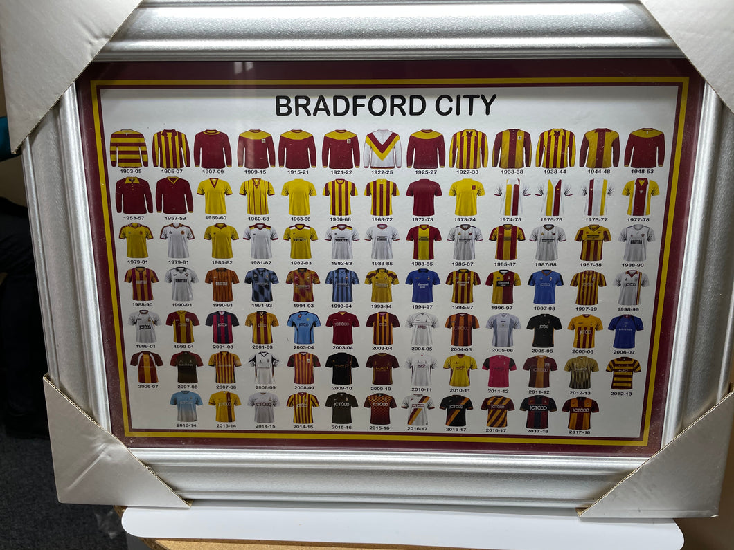 Framed Bradford City FC Shirt Collection Images - Retro Treasure Leeds