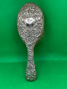 Victorian Silver Ladies Hairbrush marked Christmas 1900 - Retro Treasure Leeds