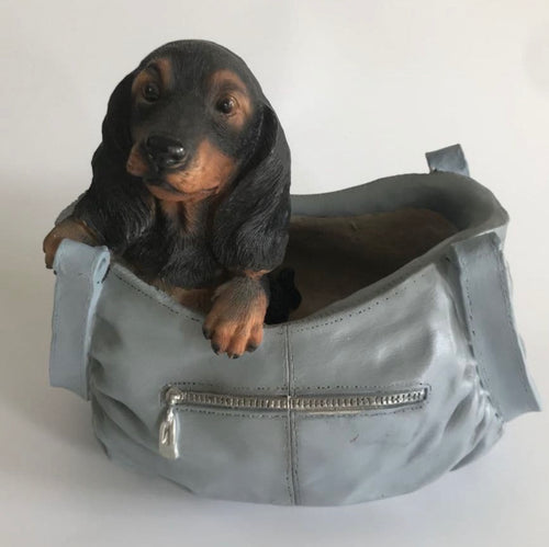 Dark Dachshund Puppy In Handbag  Planter - Retro Treasure Leeds