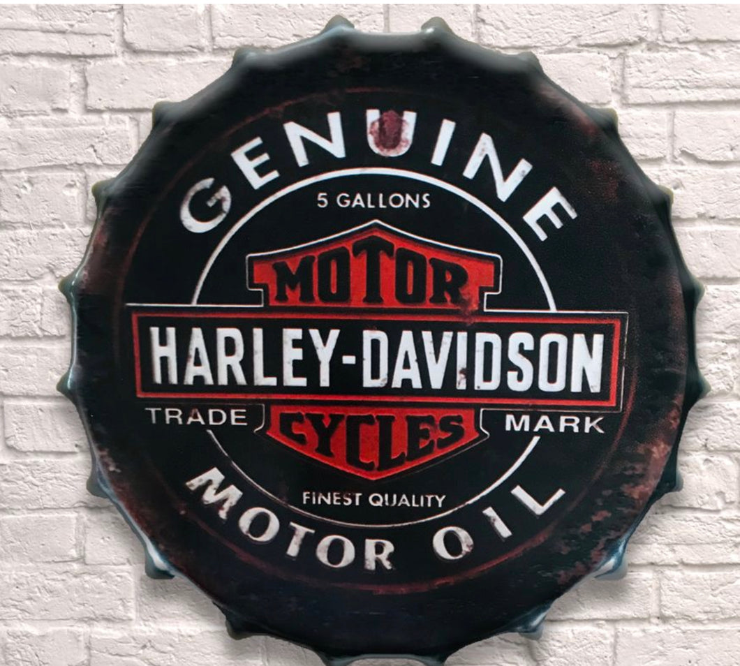 Harley Davidson 40cm Metal Bottle Top Sign - Retro Treasure Leeds