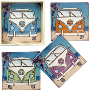 Four Ceramic Campervan Coasters - Retro Treasure Leeds