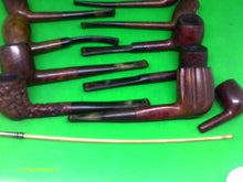 Load image into Gallery viewer, Selection of old used smoking pipes and silver tipped stem - Retro Treasure Leeds