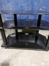 Load image into Gallery viewer, Black Glass Entertainment Unit/TV Stand - Retro Treasure Leeds