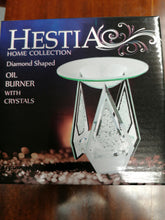 Load image into Gallery viewer, Hestia Diamond Shaped Glass Oil Burner with Crystals - Retro Treasure Leeds