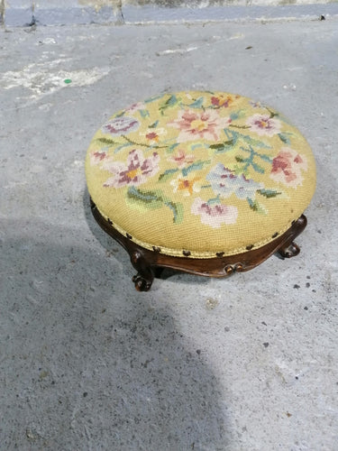 Embroidered Foot Stool - Retro Treasure Leeds