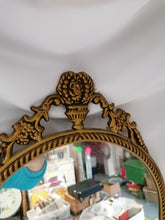 Load image into Gallery viewer, Long Ornate Brass Wall Mirror
