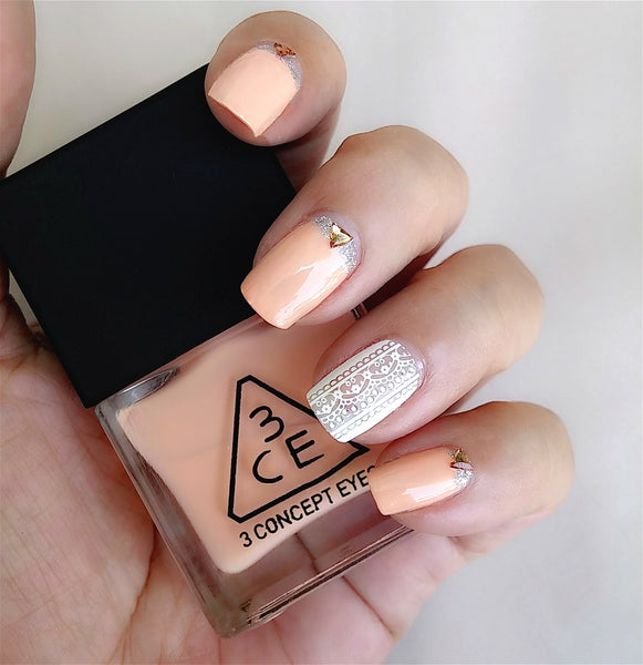 3CE Peach Nail Polish and Sassy Lace Nail Sticker