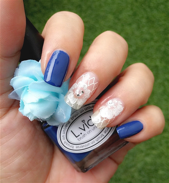 Lvida Navy Blue Nail Polish and Elegant Floral Lace Nail Sticker