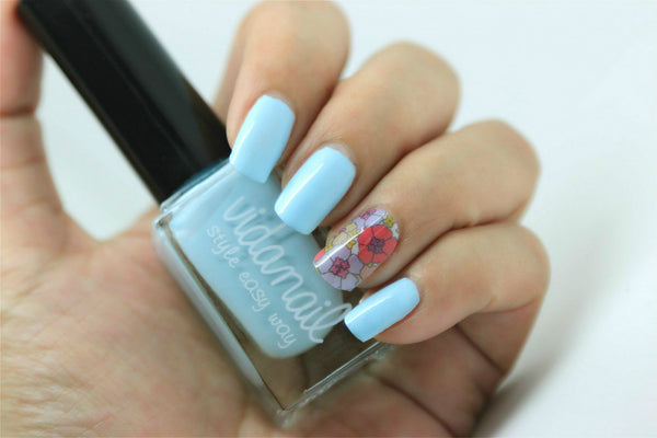 Milk Sky Nail Polish and Vivid Flower Nail Sticker