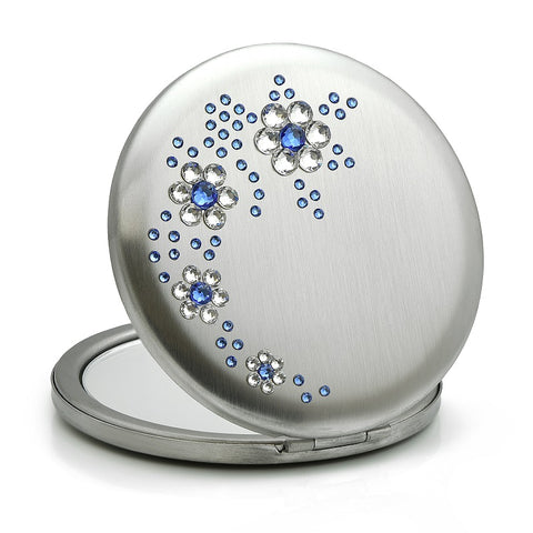 Flowers Blue Swarovski Compact Mirror - Nail Art Singapore
