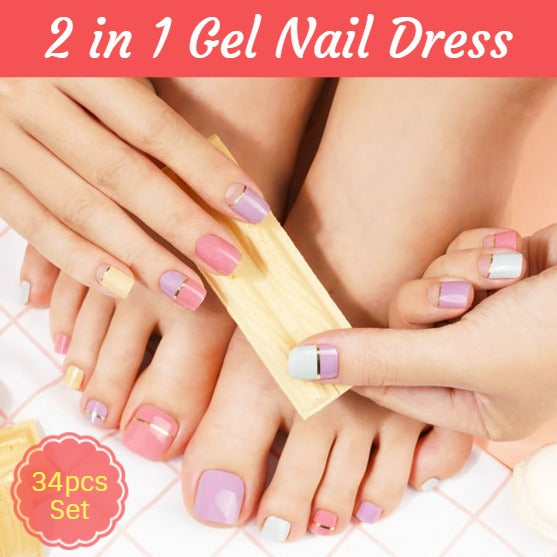 2 In 1 Gel Nail Dress - Nail Art Singapore
