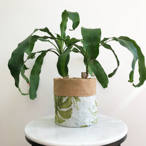 Monstera Print & Natural Hessian Plant Pot Cover