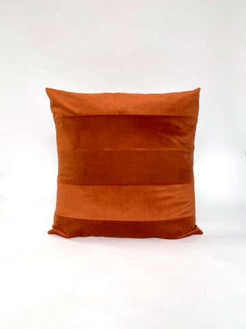 CUSHION COVER - PATCHWORK RUST VELVET