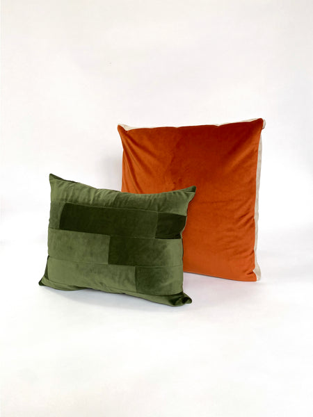CUSHION COVER - PATCHWORK SEAWEED VELVET